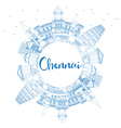Outline Chennai Skyline with Blue Landmarks