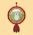 owl on dream catcher vector image vector image