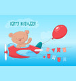 postcard poster cute teddy bear on plane in vector image vector image