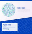 public signs concept in circle thin line icons vector image vector image