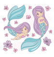 purple mermaid sea underwater vector image