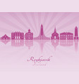 reykjavik skyline in purple radiant orchid vector image