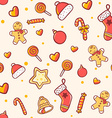 seamless christmas pattern on light background vector image