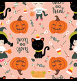 seamless pattern halloween theme cute girls vector image