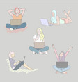 set girls with laptop in different poses hand vector image