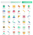 set trendy flat gradient garden icons vector image