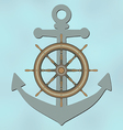 Ship wheel and anchor vector image vector image