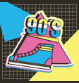 sneaker 90s trendy fashionable groemtric grid dark vector image