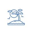 tropical beach island line icon concept tropical vector image vector image