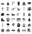 winter holiday icons set simple style vector image