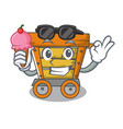 with ice cream wooden trolley character cartoon vector image vector image