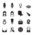 woman icon set vector image vector image