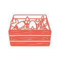 silhouette tool box with equipment to industry vector image