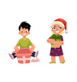 cartoon kids with present gift set vector image