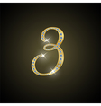Shiny number three of gold and diamond vector image