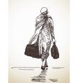 Sketch buddhist monk vector image