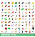 100 world icons set isometric 3d style vector image vector image