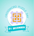 21 December Crossword Puzzle Day vector image