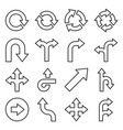 arrows icons set on white background line style vector image vector image