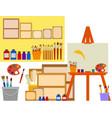 art studio with artist tools vector image vector image
