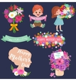Baby girl and boy with bouquet flowers Happy vector image vector image