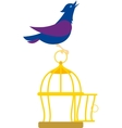 bird on cage vector image vector image