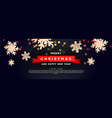 christmas background with a red ribbon volumetric vector image vector image