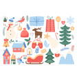 christmas cute set cartoon xmas design elements vector image