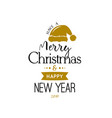 christmas greeting card with santa claus hat vector image vector image