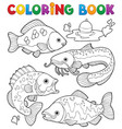 coloring book freshwater fishes 1 vector image