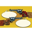 duel in the wild West hands with revolvers vector image vector image