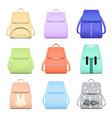 elegant school bags collection vector image vector image