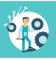 Fitter repairing wheels vector image vector image