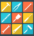 flat white house remodel tools icons vector image vector image