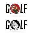 font golf with golf player action cartoon sport vector image vector image