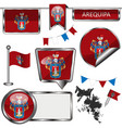 glossy icons with flag of arequipa peru vector image vector image