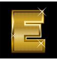 Golden font type letter E vector image vector image