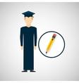 graduate student man pencil icon vector image