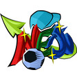 graffiti with text new and sport symbols vector image