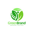 green leaf circle logo vector image vector image