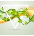 Green orange smooth waves and clovers shamrocks vector image vector image