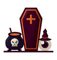 halloween coffin with set icons vector image