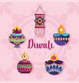 happy diwali festival diya lamps lanterns vector image vector image