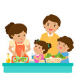 happy family cook healthy food together cartoon vector image vector image