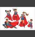 happy family superheroes set smiling parents vector image