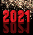happy new 2021 year 3d greeting card vector image vector image