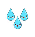 happy water drop cartoon characters icon flat vector image vector image