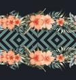 hibiscus plumeria palm leaves border mirror vector image vector image