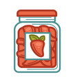 homemade preserved red peppers in glass jar on vector image vector image