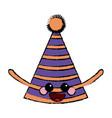 kawaii party hat decoration celebration cartoon vector image vector image